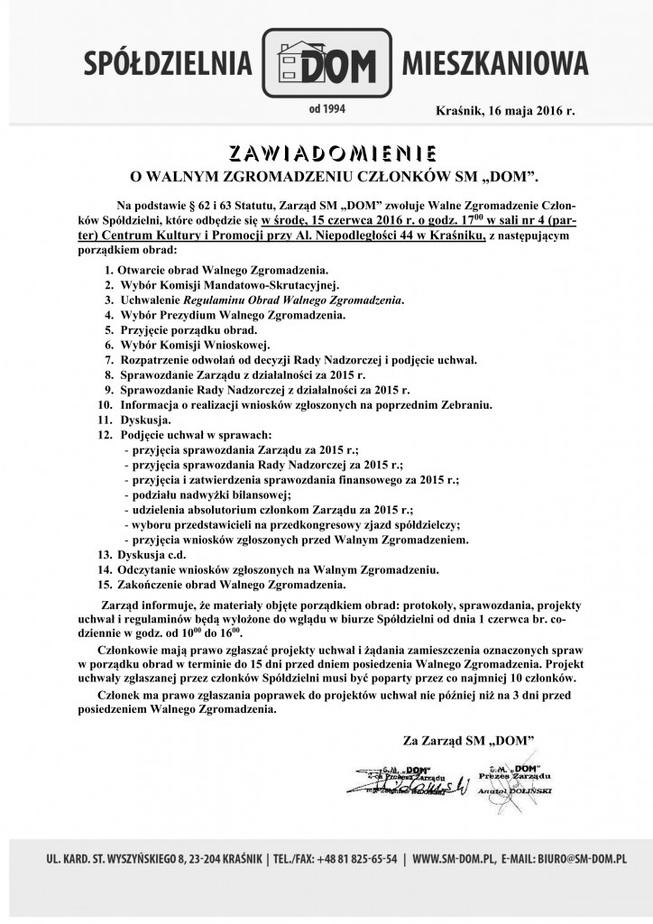 Ogłoszenie o WZ 2016