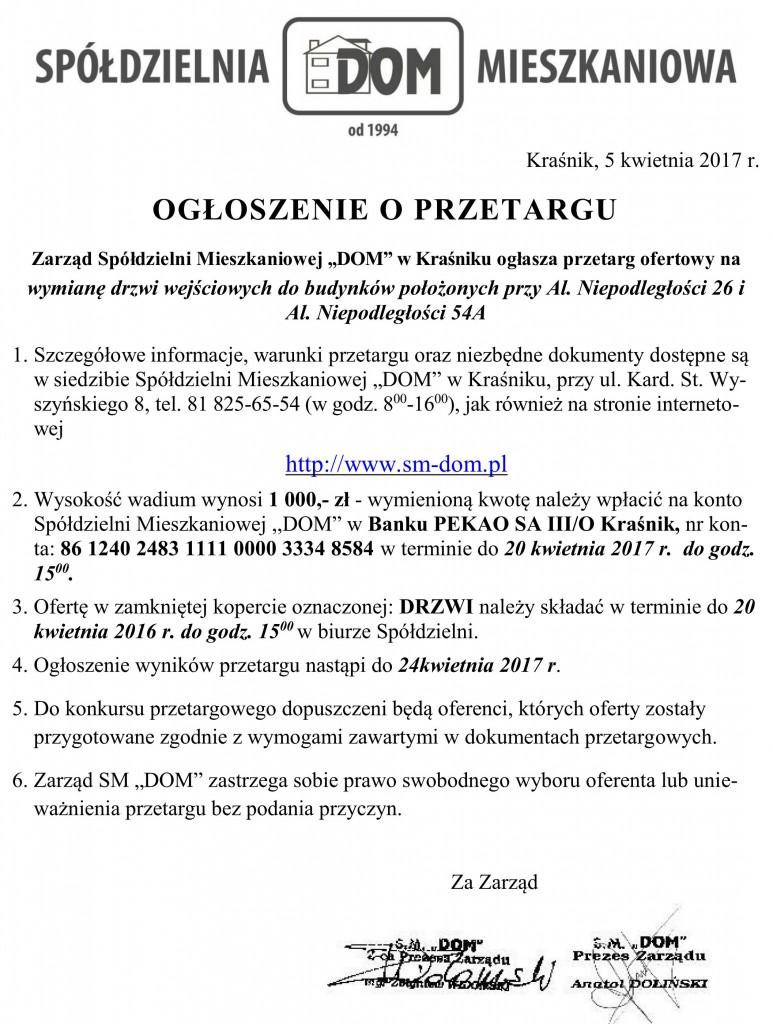 Ogłoszenie o przetargu_drzwi