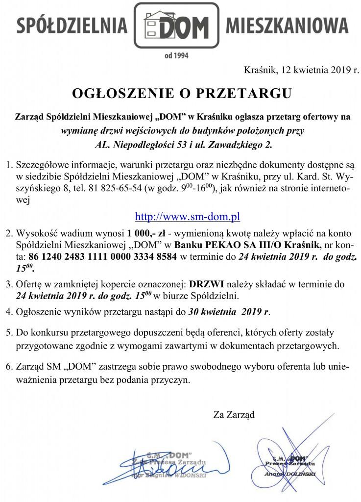 Ogłoszenie o przetargu_drzwi1
